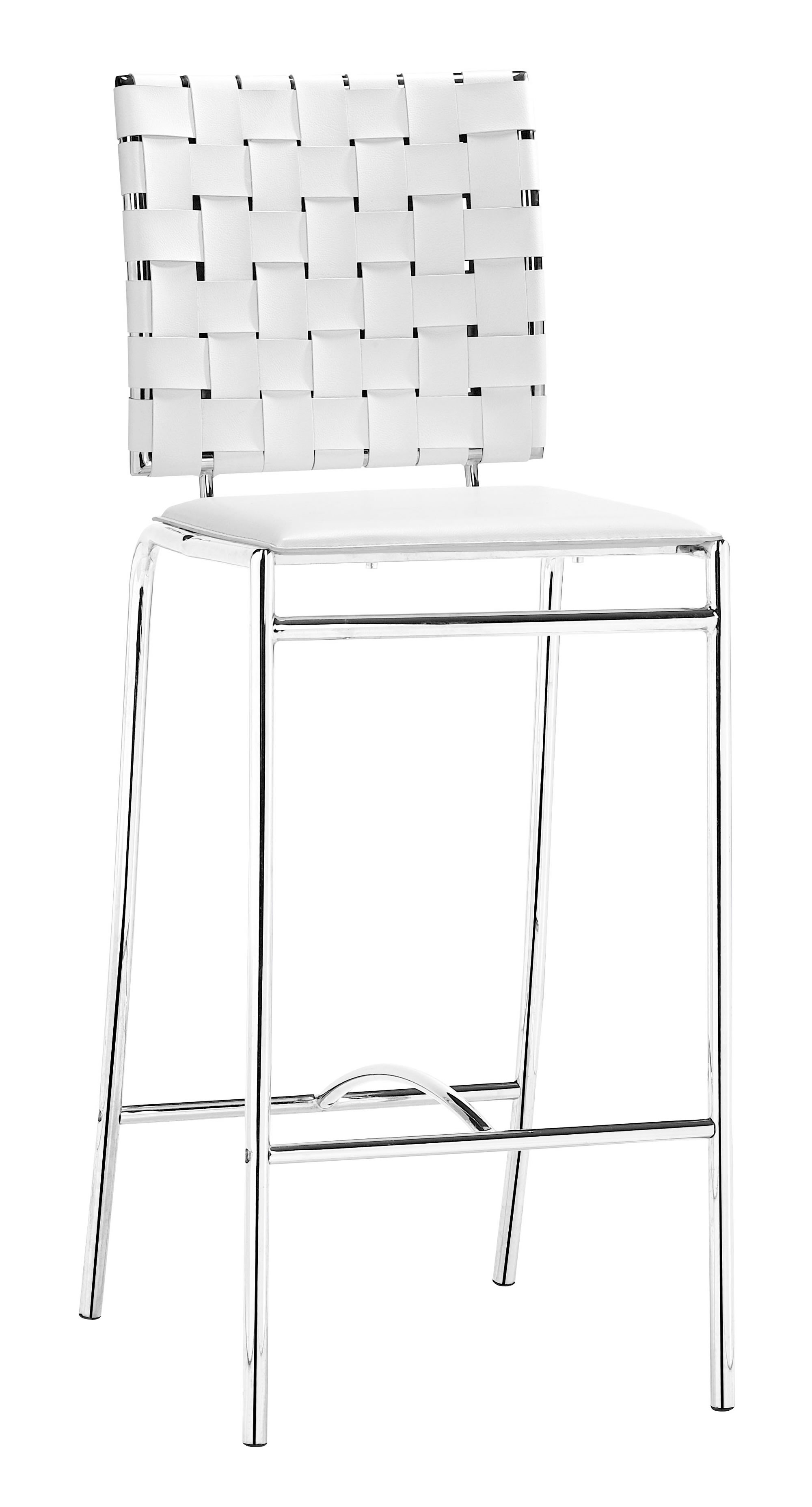 """15"""" x 19"""" x 39"""" White, Leatherette, Chromed Steel, Cross Counter Chair - Set of 2"""