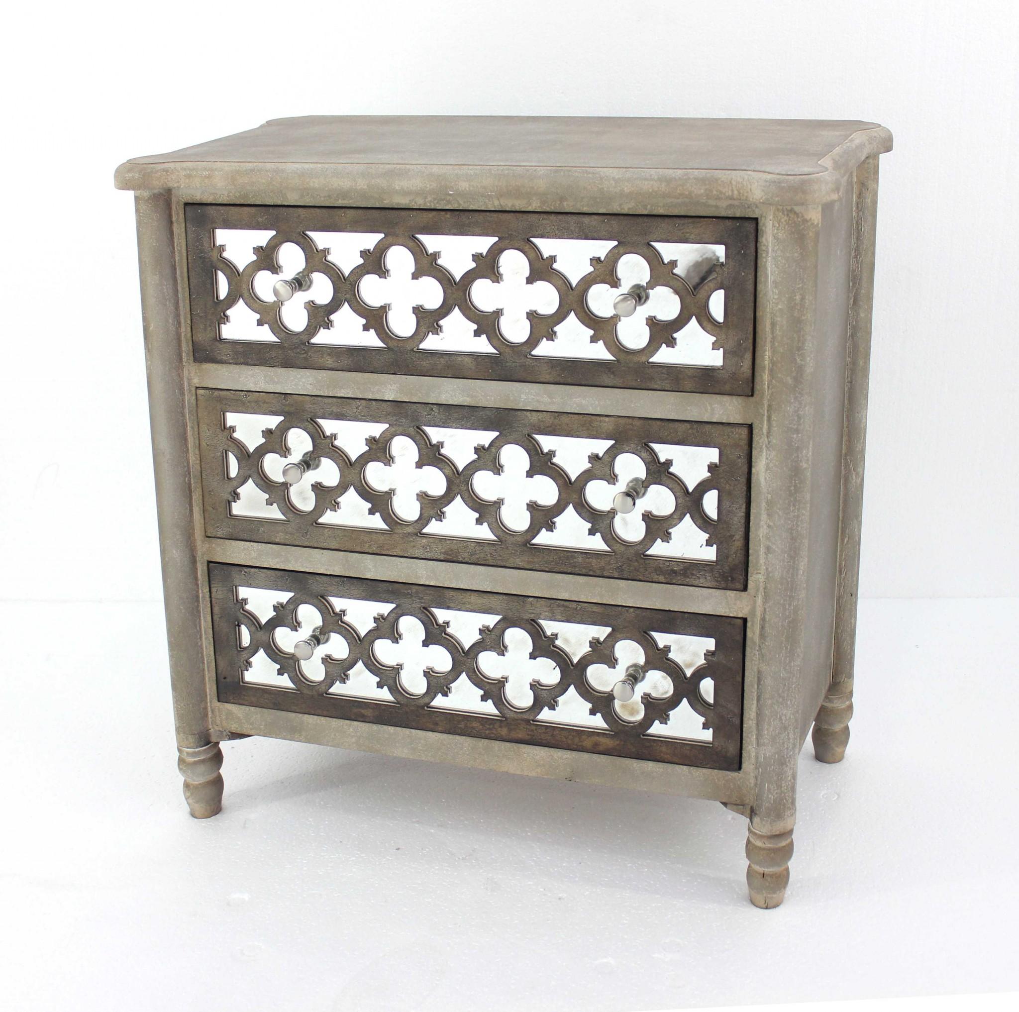 "15"" x 32"" x 32"" Brown, 3 Drawer, Wood, Mirror - Cabinet"
