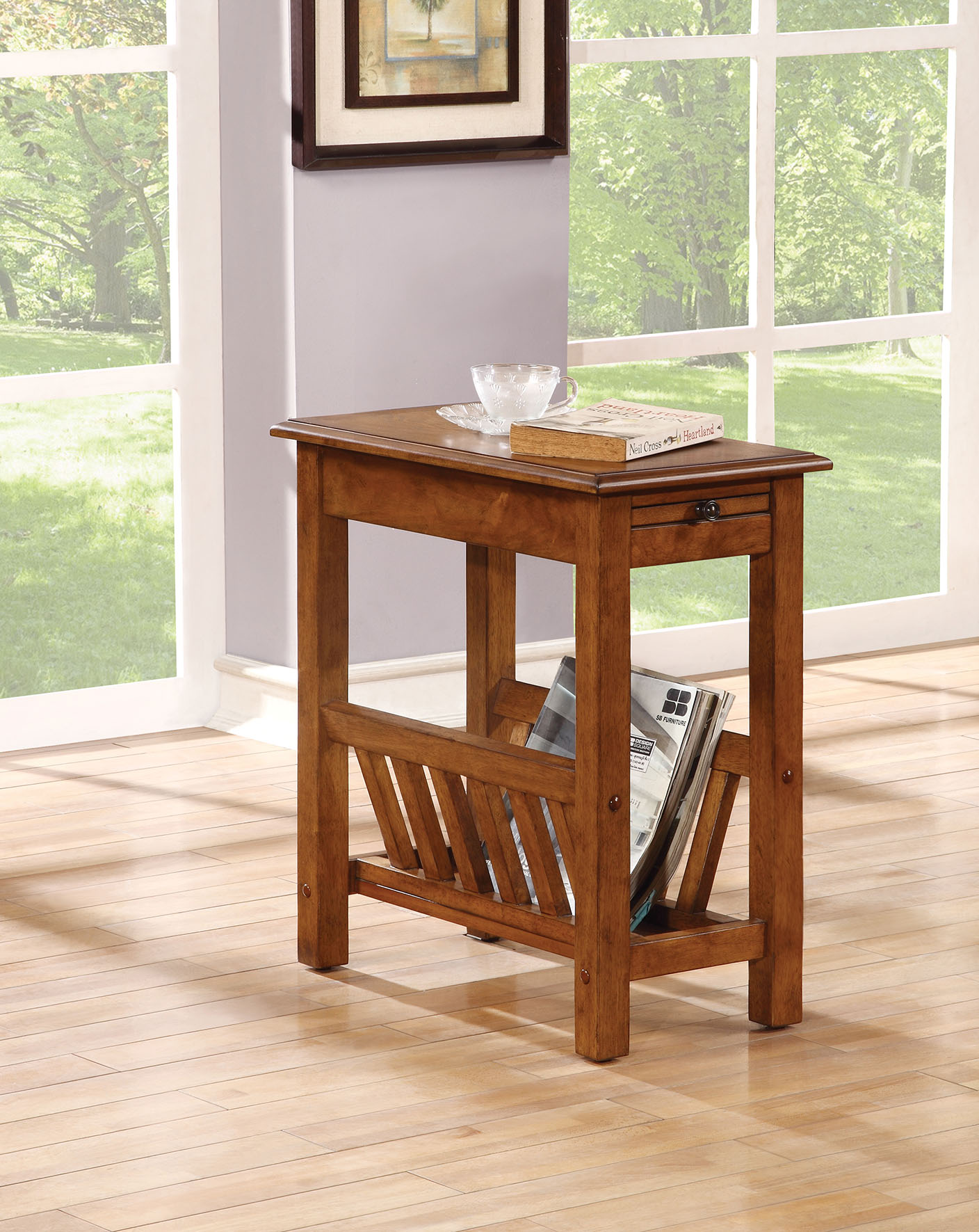 """12"""" X 22"""" X 23"""" Tobacco Rubber Wood Side Table"""