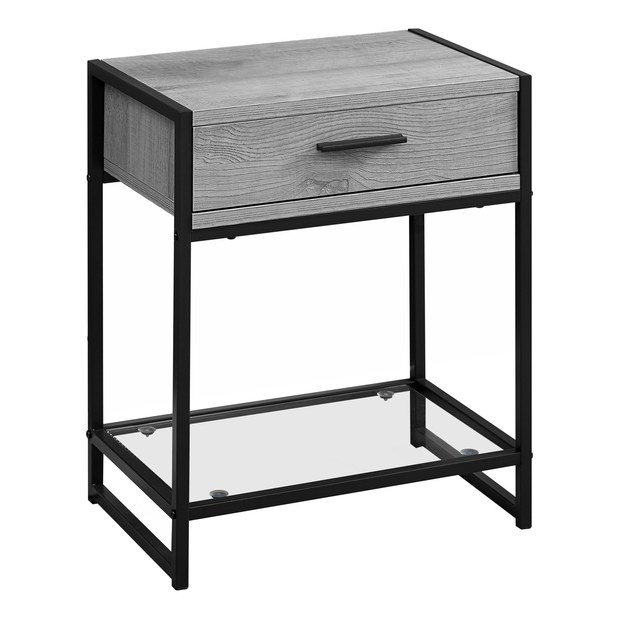 """12"""" x 18"""" x 22"""" Grey with Black Metal  Tempered Glass  Accent Table"""