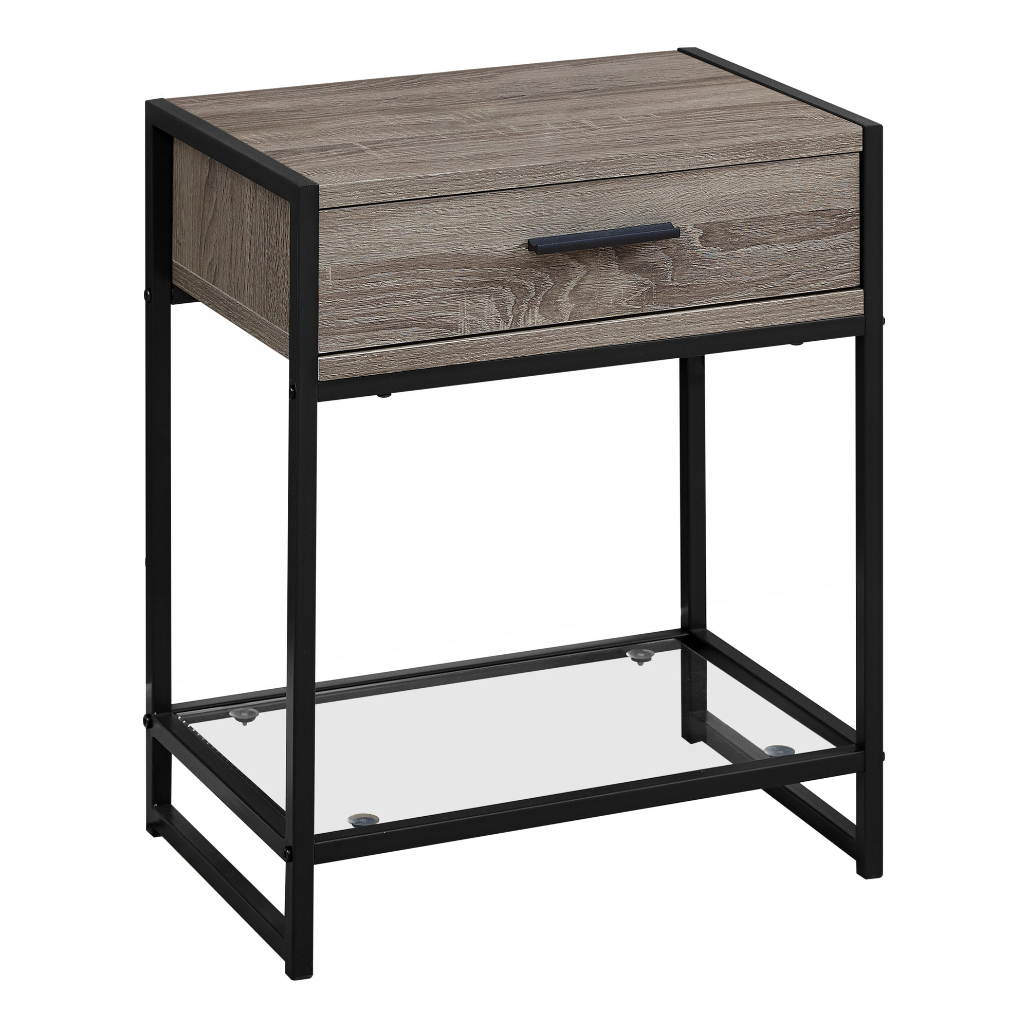 """12"""" x 18"""" x 22"""" Dark TaupewithBlack  Tempered Glass  Accent Table"""