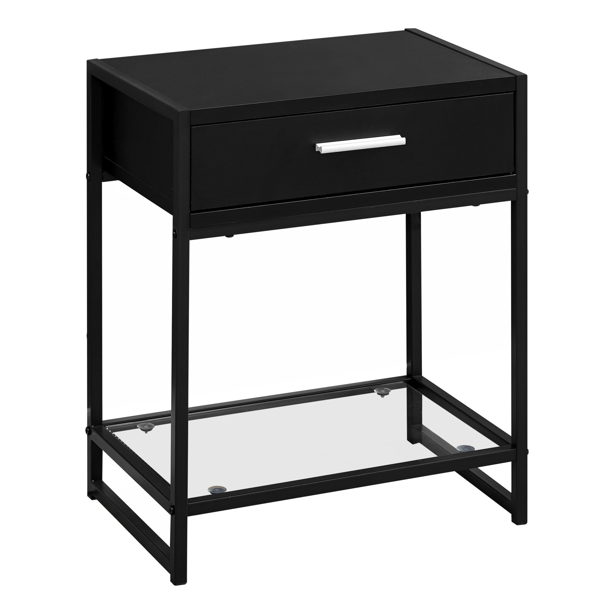 """12"""" x 18"""" x 22"""" BlackwithBlack Metal  Tempered Glass  Accent Table"""
