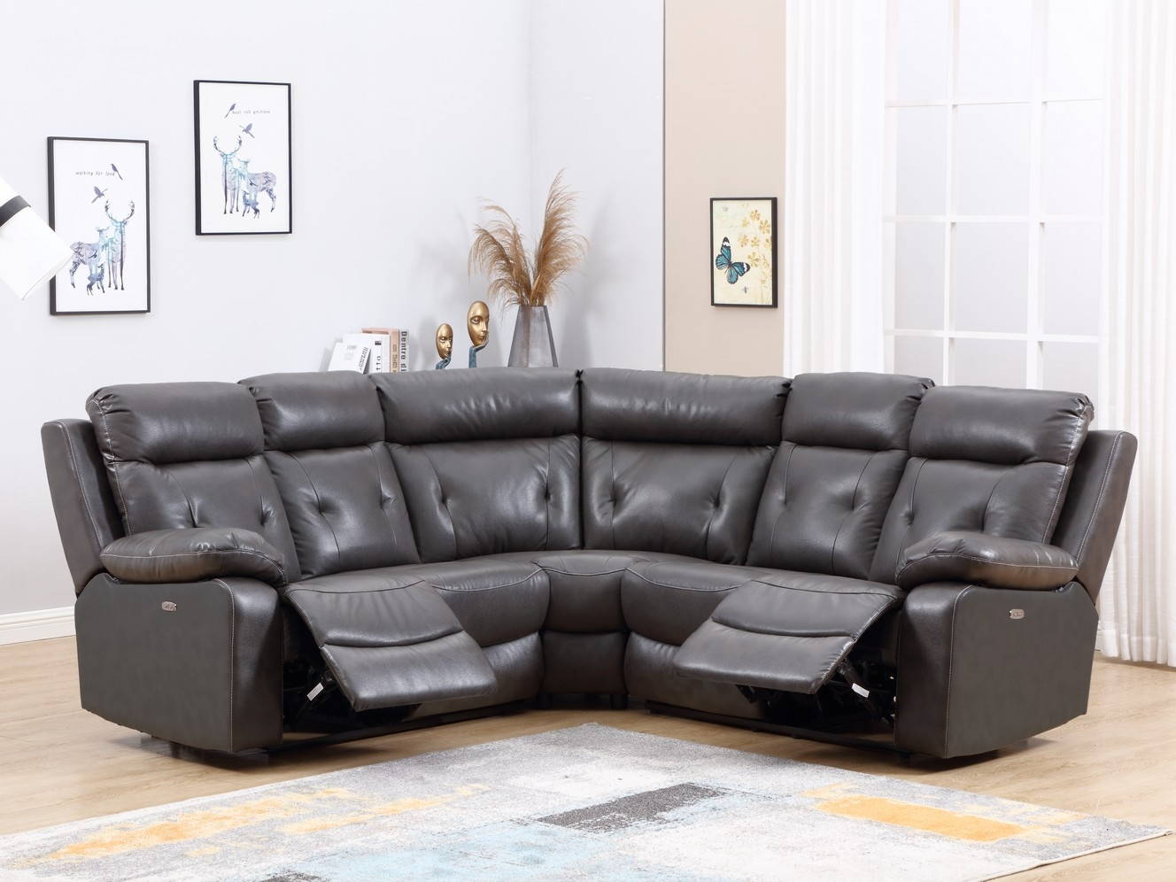 160 X 38  X 40 Modern Dark Gray Leather Sectional With Power Recliners