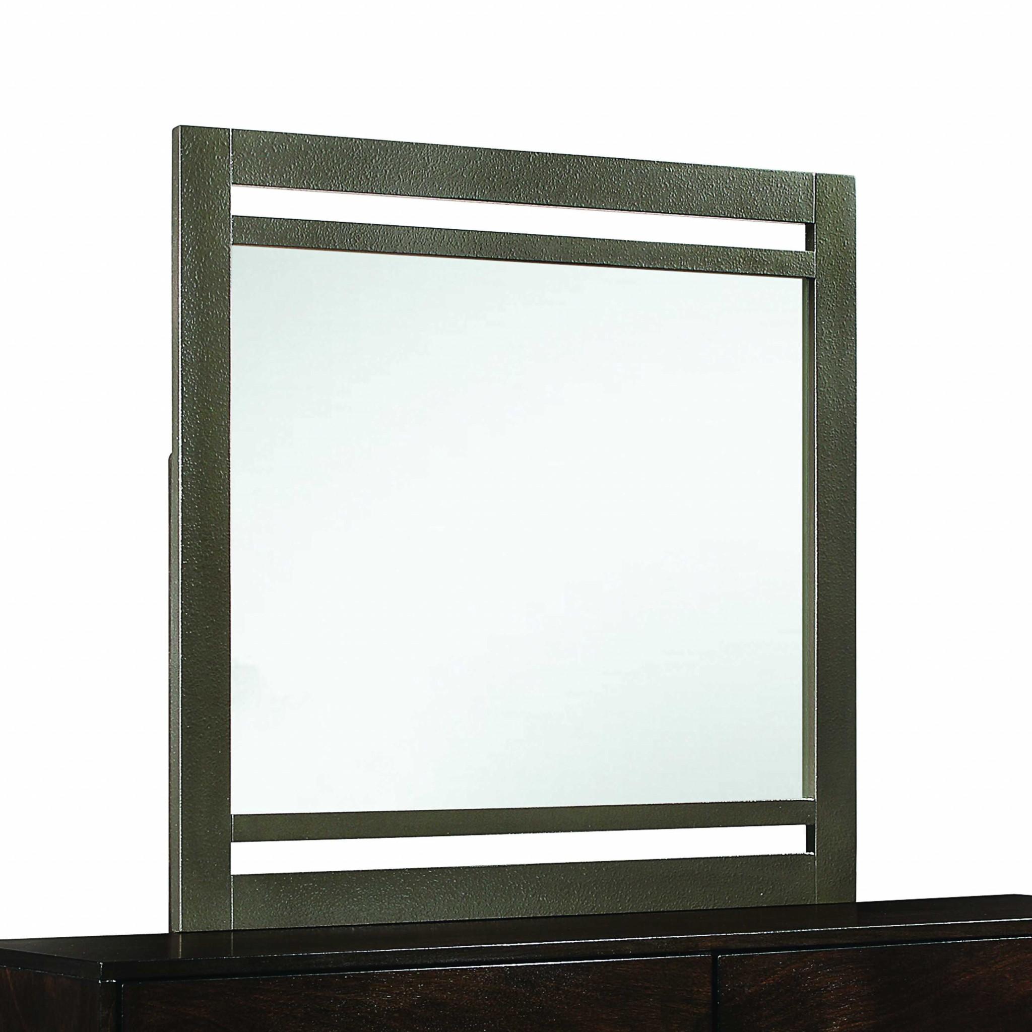 """1"""" X 39"""" X 37"""" Walnut Wood Mirror"""