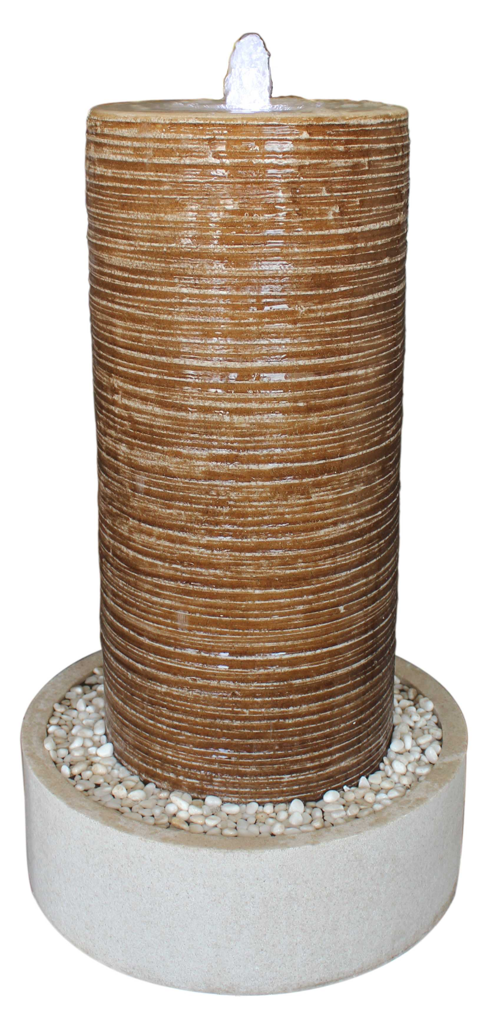 "1"" x 19"" x 32"" Tan Ribbed Column Round Base With Pebbles  Indoor Outdoor Fountain"