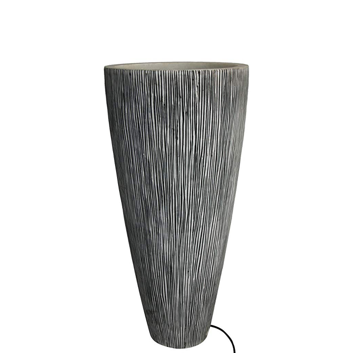 """1"""" x 18"""" x 39"""" Gray Sandstone Ribbed Long Conical  Planter With Light"""