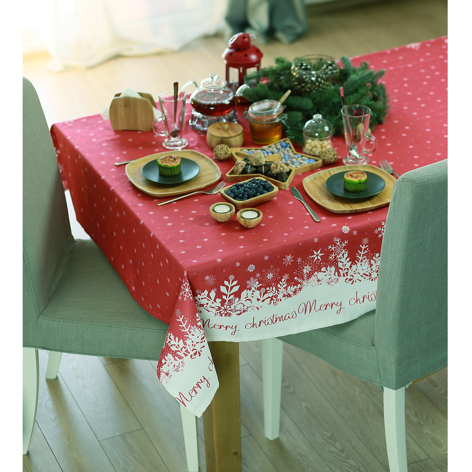 """55"""" Merry Christmas Printed Square Tablecloth in Red"""