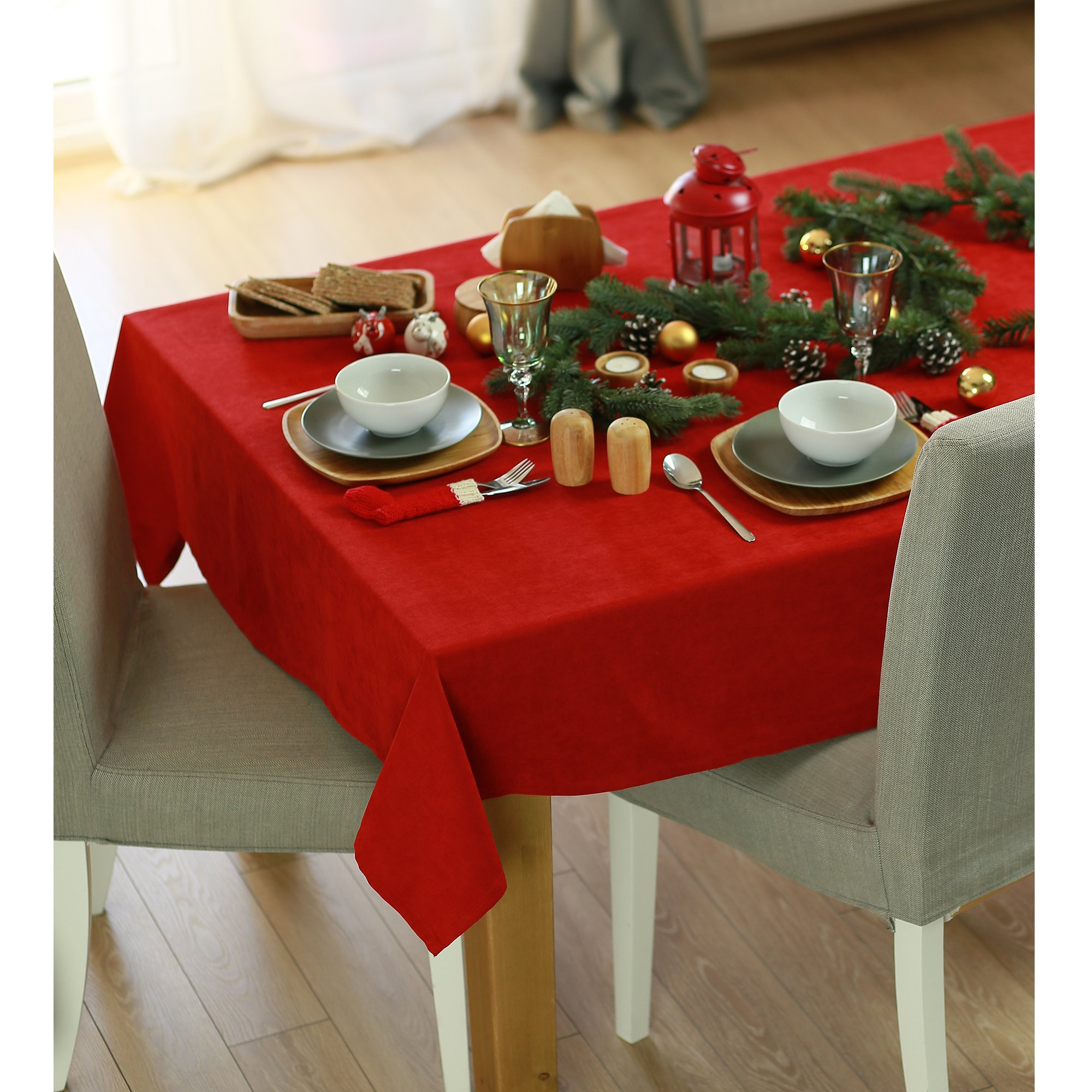 """55"""" Merry Christmas Square Tablecloth in  Red"""