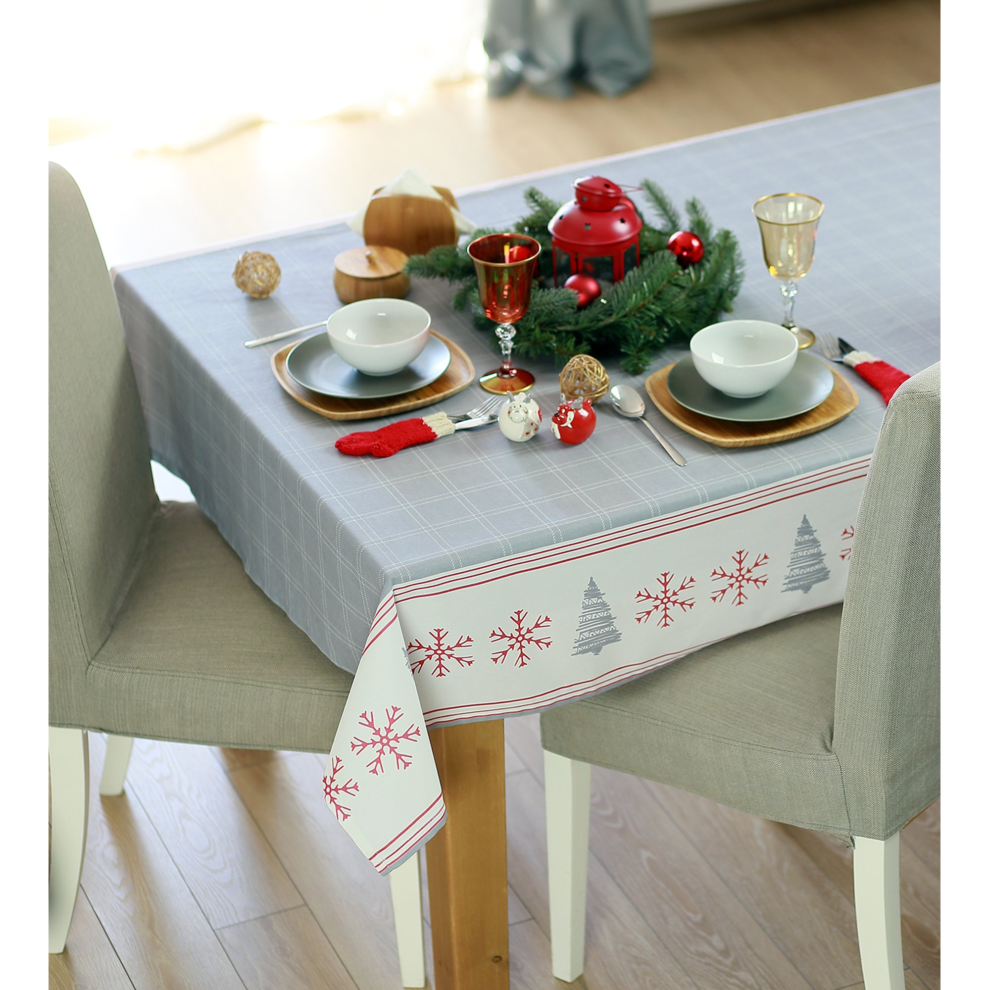 """104"""" Merry Christmas Printed Rectangle Tablecloth in Grey"""