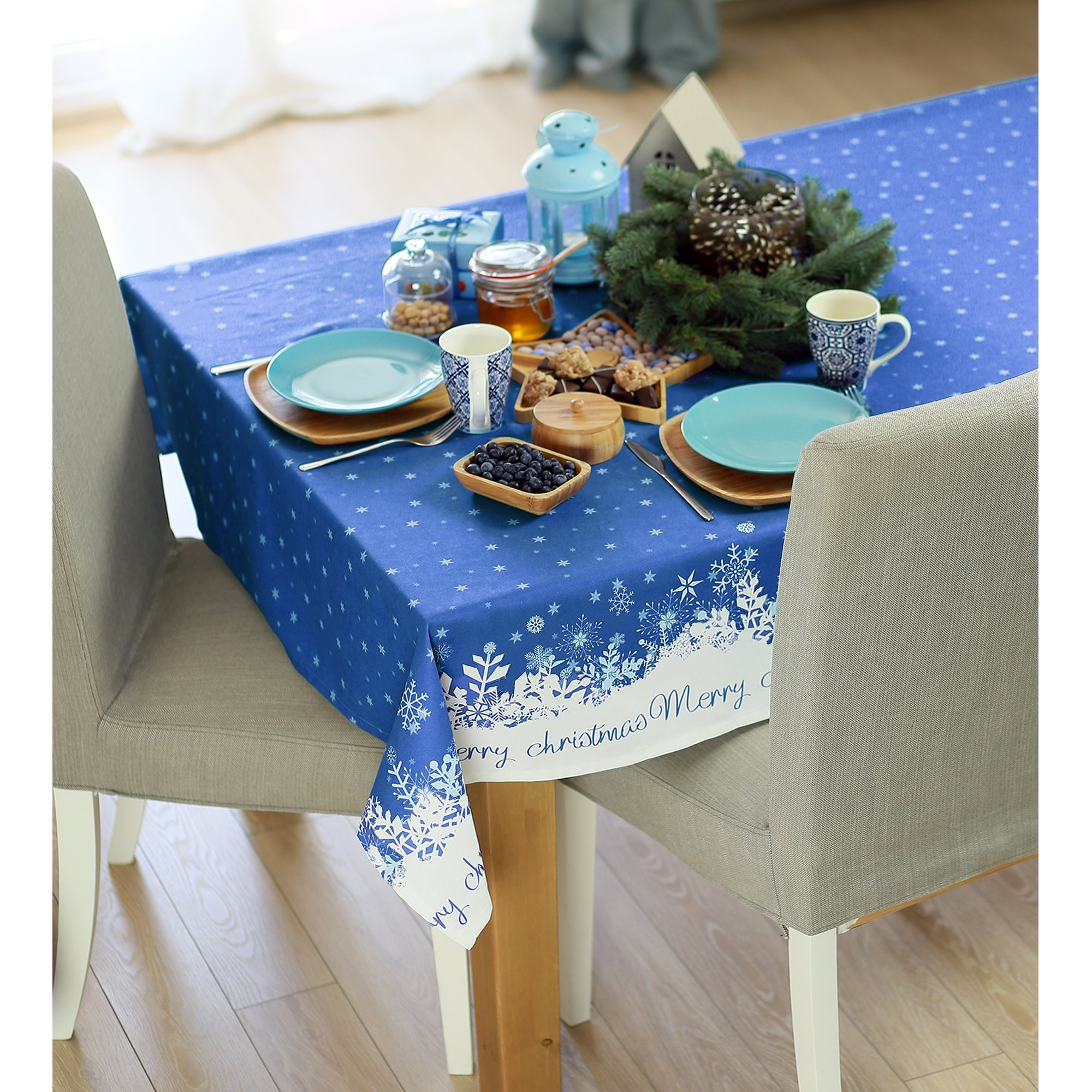 """120"""" Merry Christmas Printed Rectangle Tablecloth in Blue"""