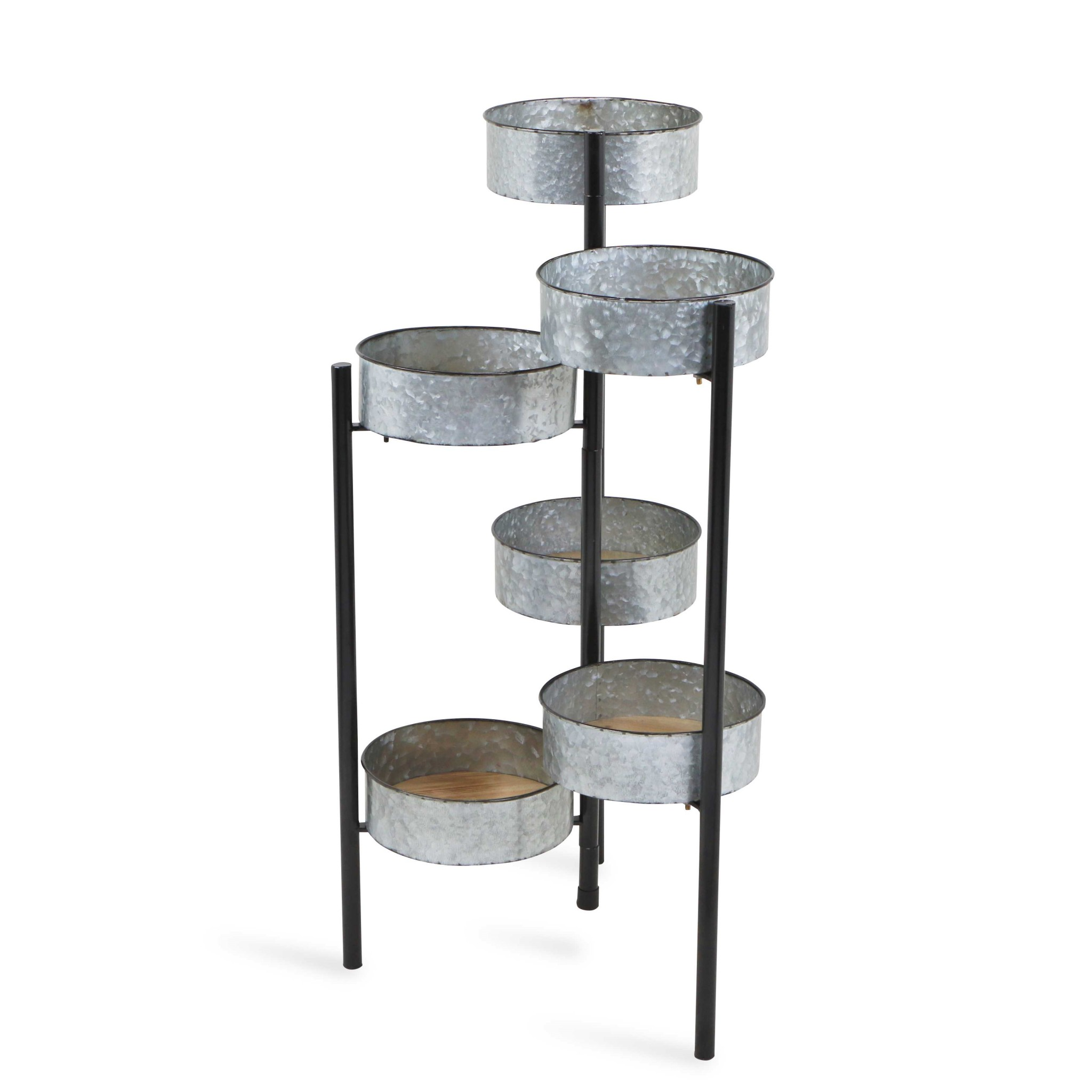 6 Metal Pot s and Wood Base Folding Plant Stand
