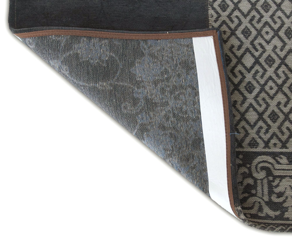 5' x 7' Blue Grey and Brown Patchwork Design Area Rug