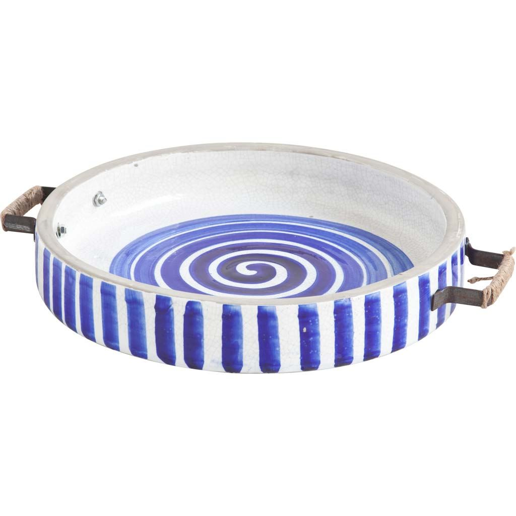 """13"""" Blue And White Ceramic With Wood And Metal Handles Round Tray"""