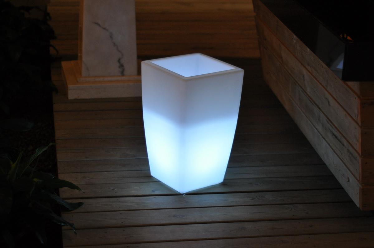 """20"""" X 12"""" X 12"""" Multi  PE Plastic Square LED Planter"""