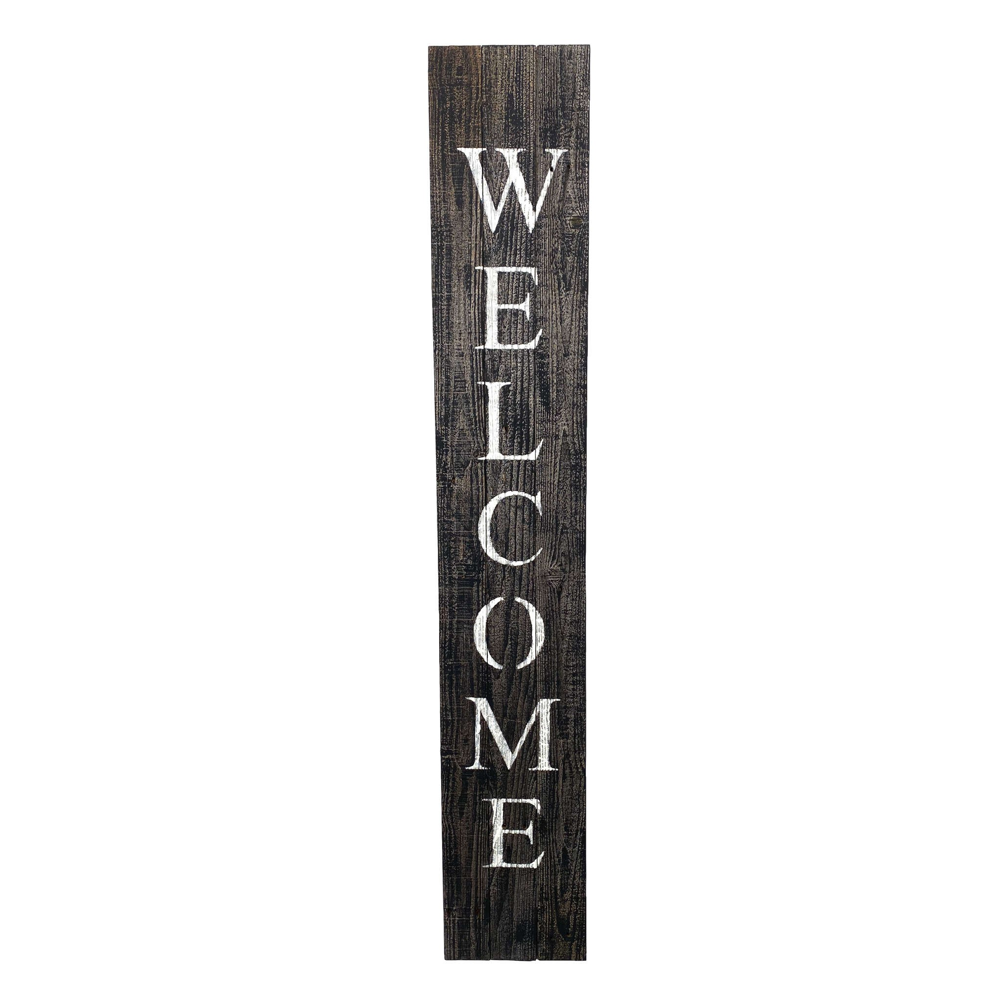 Rustic Black and White Front Porch Welcome Sign