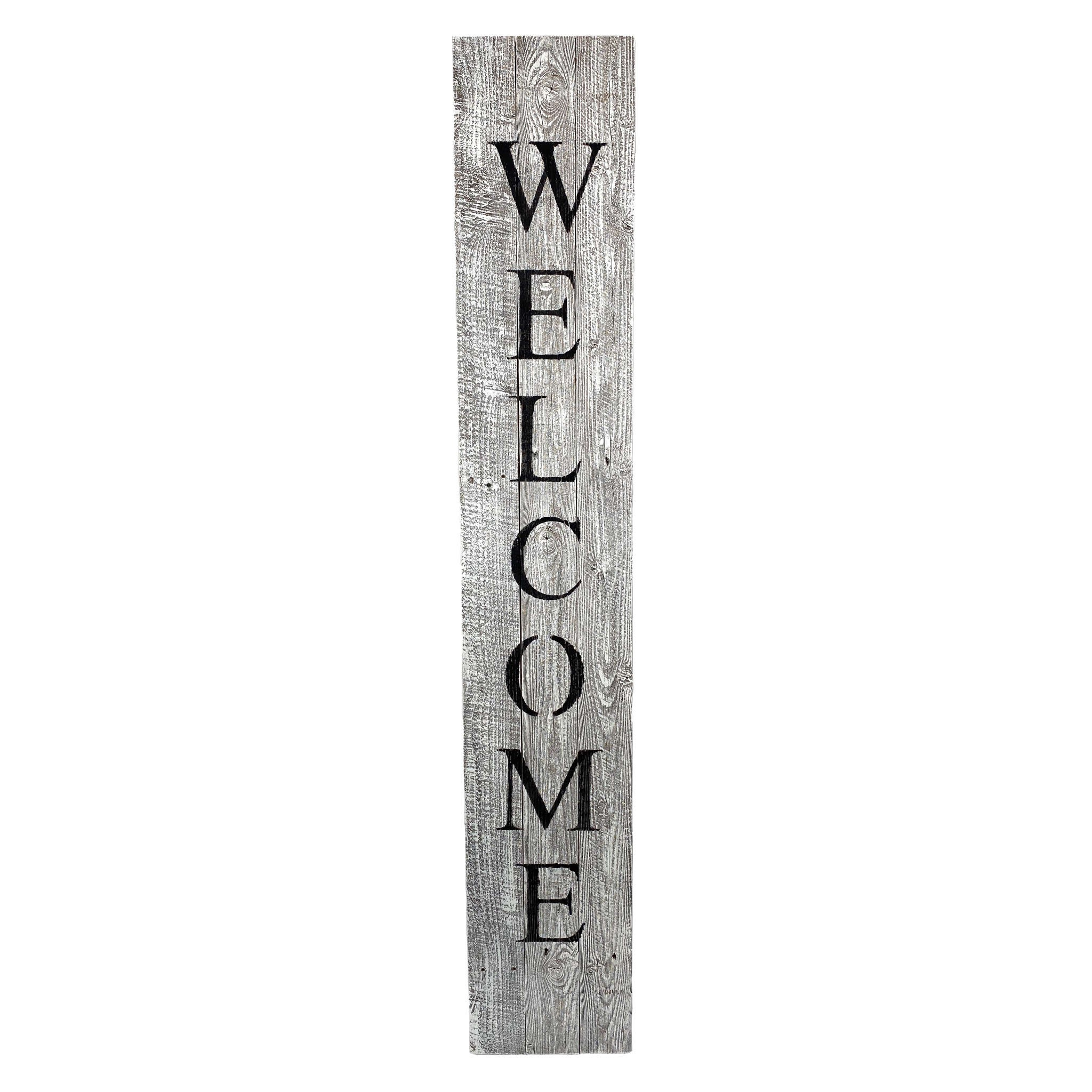 Rustic White Wash Front Porch Welcome Sign