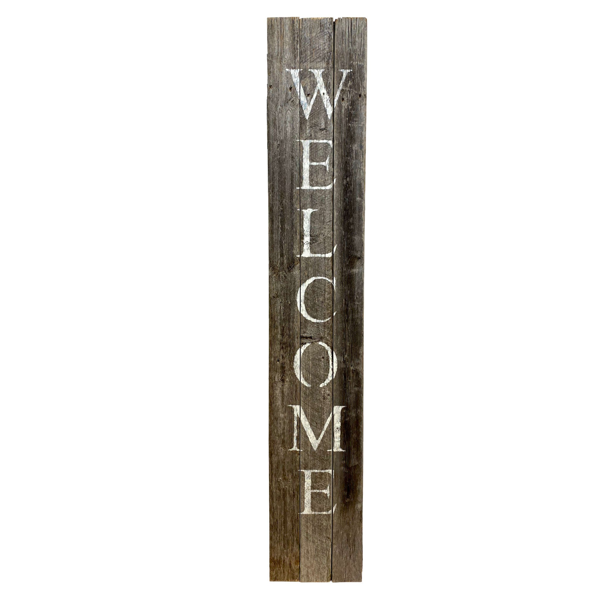 Rustic Dark Gray and White Front Porch Welcome Sign