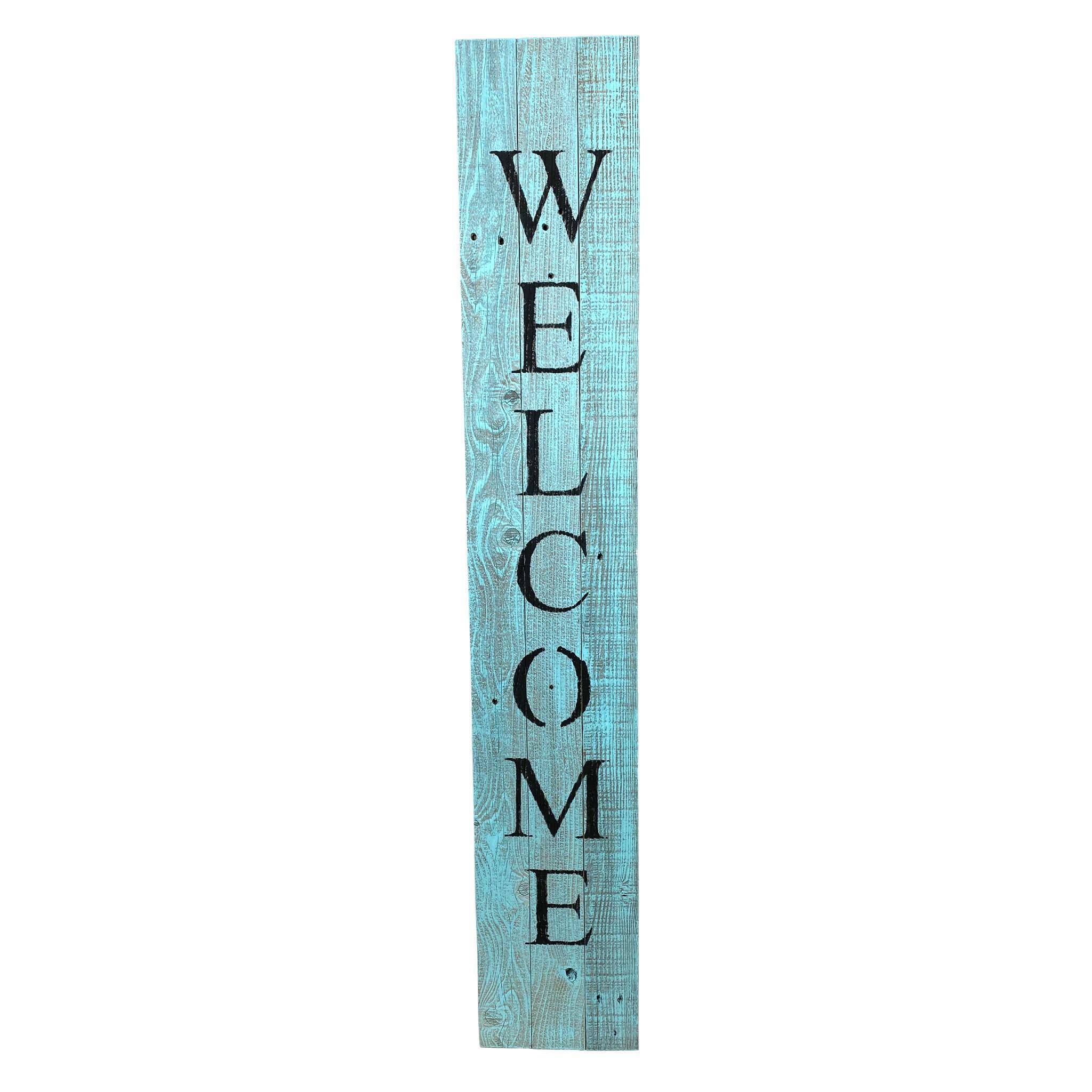 Rustic Light Aqua Blue Front Porch Welcome Sign
