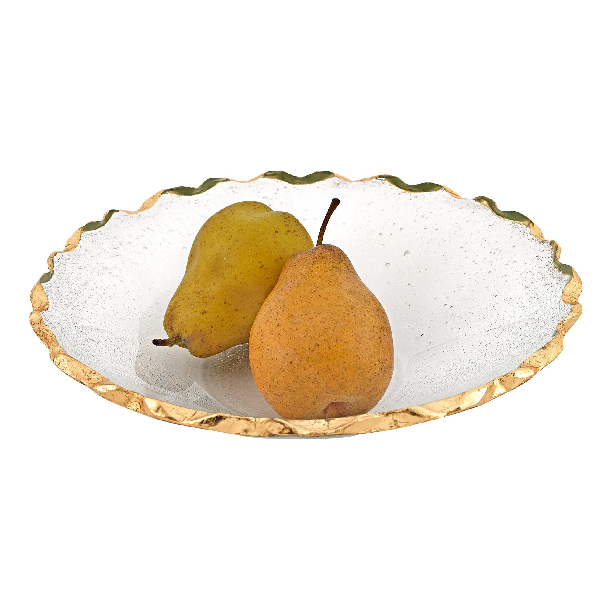 """11"""" Glass Straight Sided Edge Gold Salad or Fruit Bowl"""
