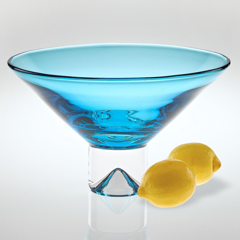 "12"" Mouth Blown Crystal Aqua Blue Centerpiece Bowl"