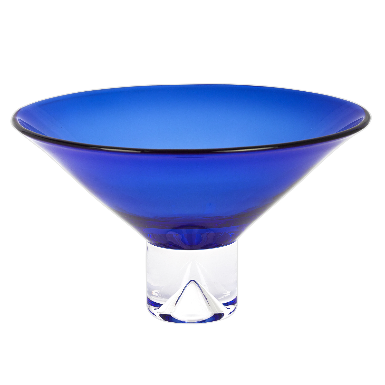 "12"" Mouth Blown Crystal Cobalt Blue Centerpiece Bowl"