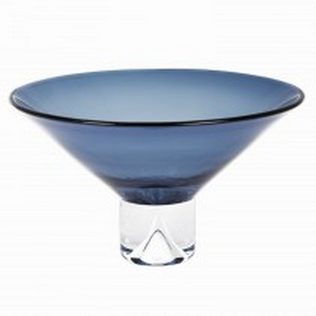 """12"""" Mouth Blown Crystal Midnight Blue Centerpiece  Bowl"""