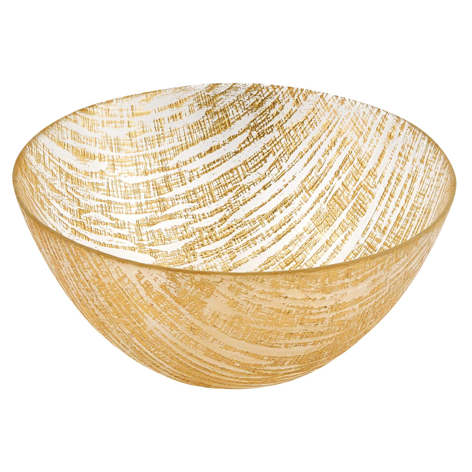 """11"""" Hand Crafted Glass Gold Accent Salad or Serving Bowl"""
