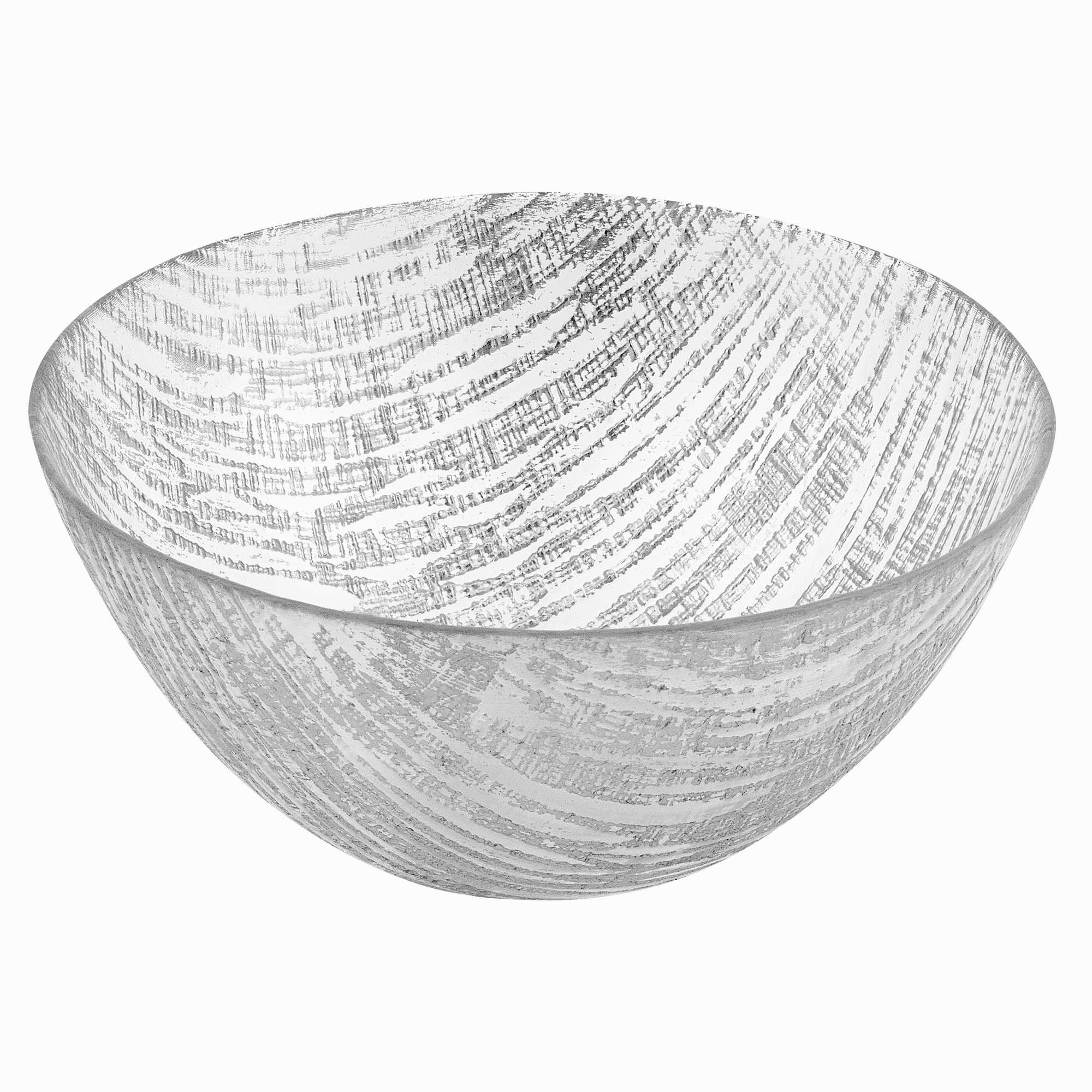 """11"""" Hand Crafted Glass Silver Accent Salad or Serving Bowl"""
