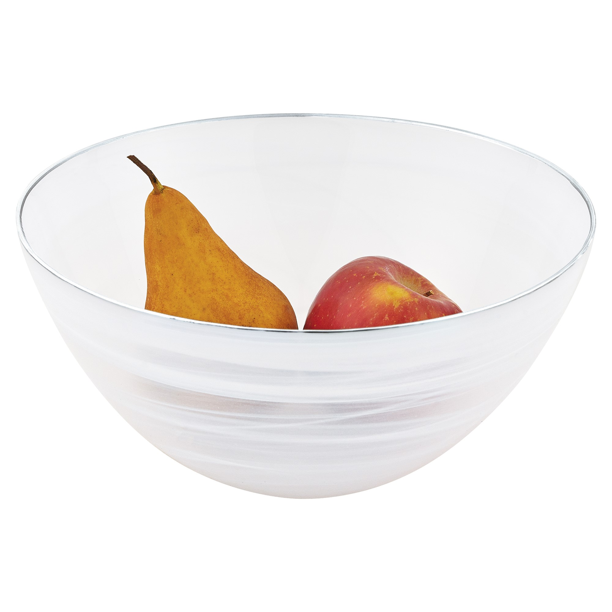 """10"""" Hand Crafted White Silver Glass Fruit or Salad Bowl With Silver  Rim"""