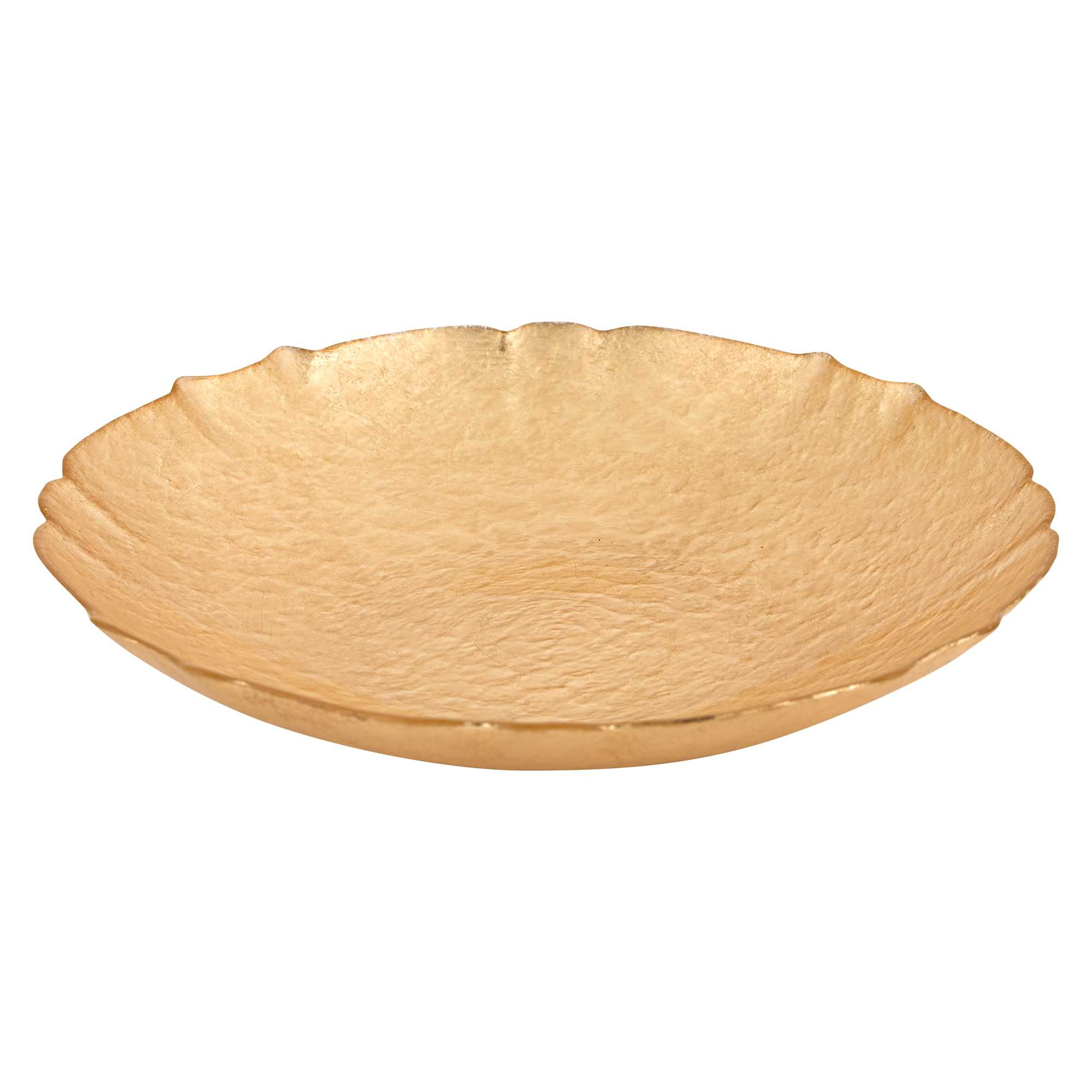 "12"" Glass Authentic Gold Leaf Centerpiece Bowl"