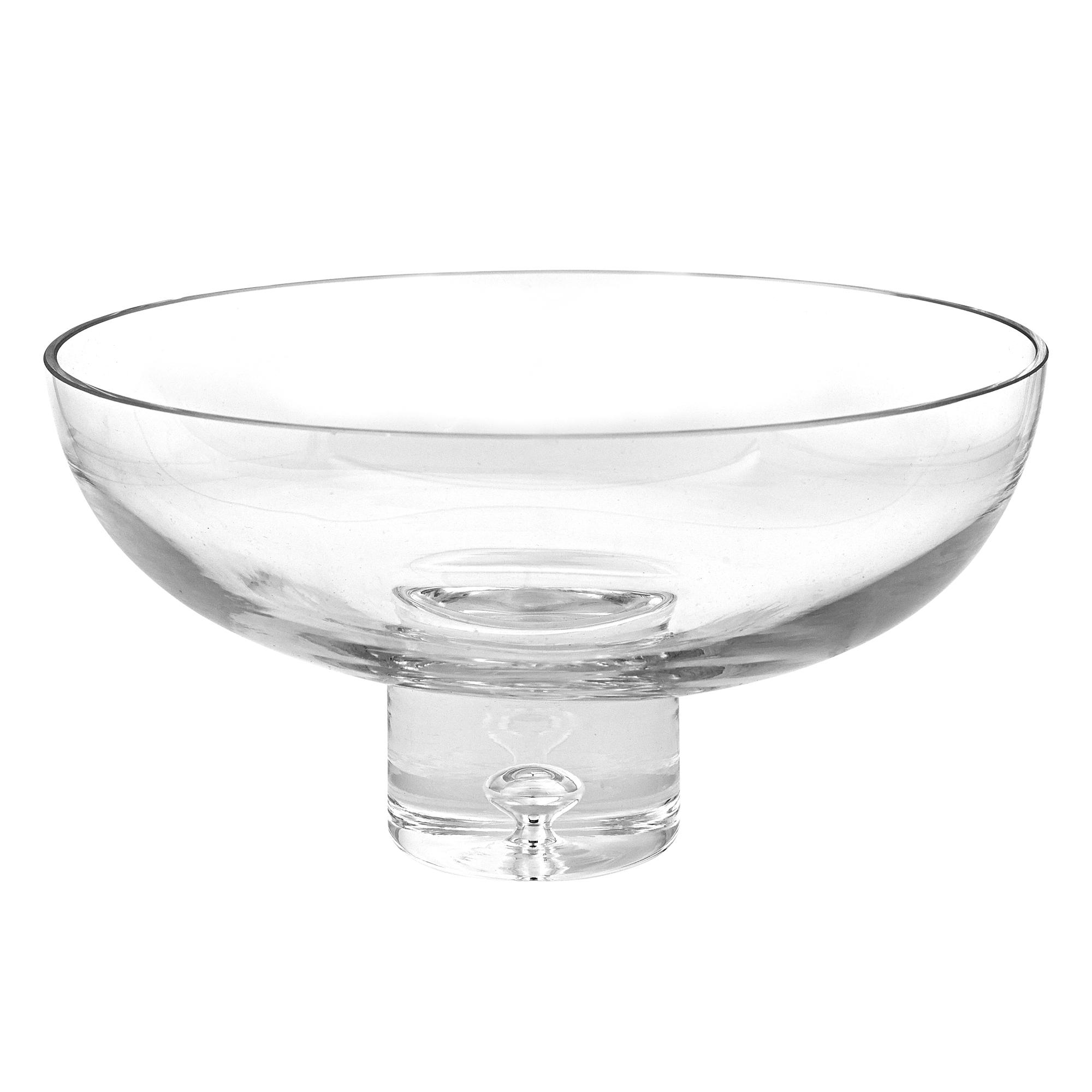 """11"""" Mouth Blown Deep Pedestal Glass Centerpiece Bowl"""