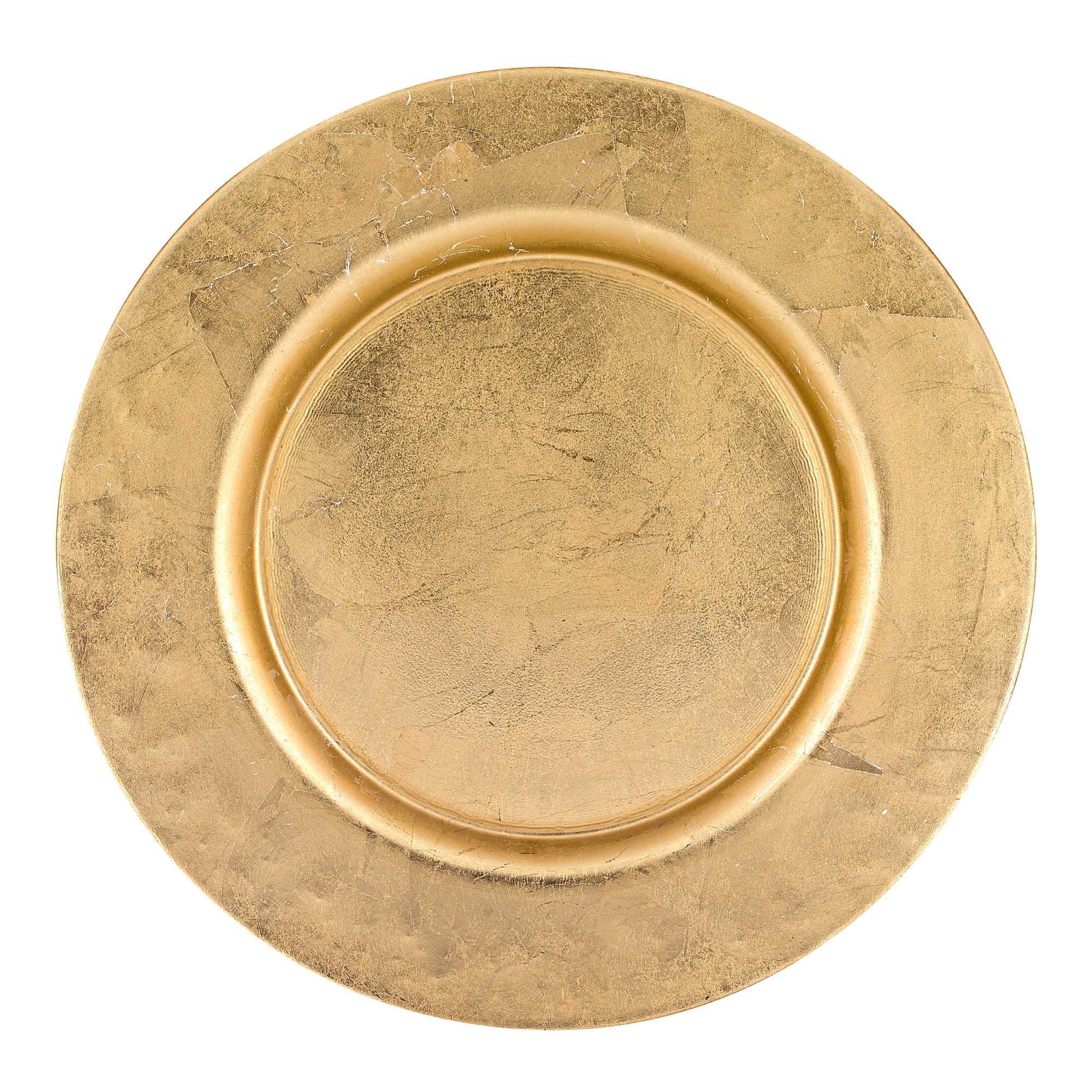 """13"""" Hand Crafted Glass Charger with Gold Rim Finish"""