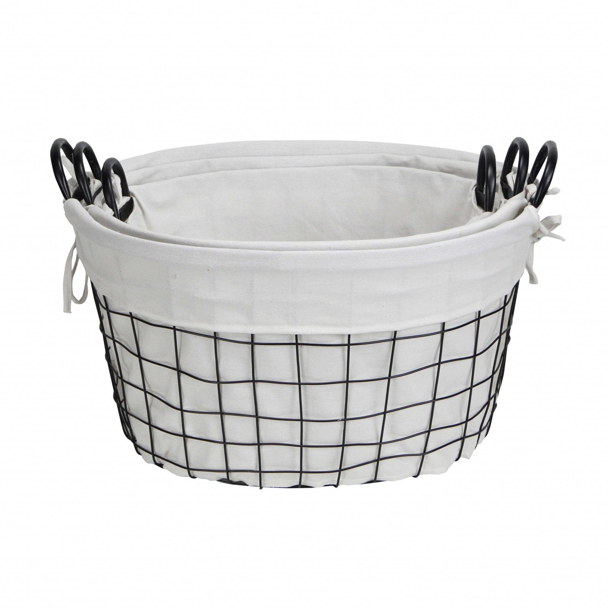Set of 3 Oval White Lined and Metal Wire Baskets with Handles