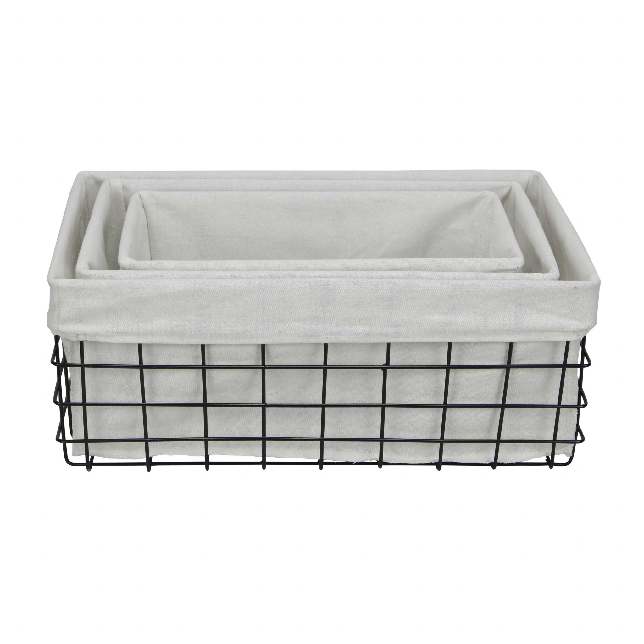 Set of 3 Rectangular White Lined and Metal Wire Baskets