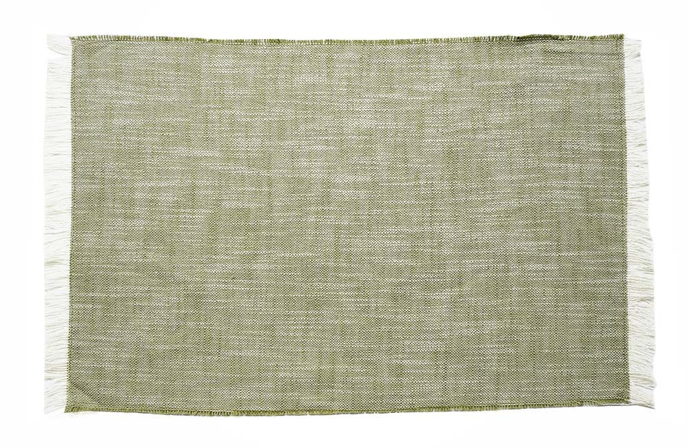 Set of Eight Dull Green Woven Textured Placemats
