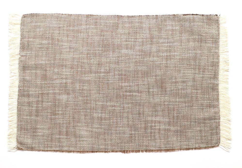 Set of Eight Tawny Brown Woven Textured Placemats