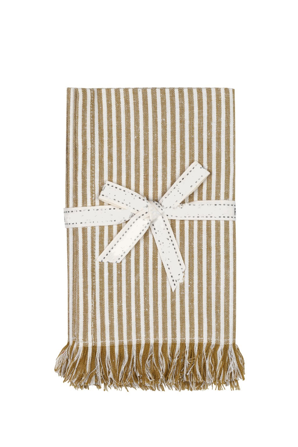 Set of Eight Yellow Ochre Striped Placemats
