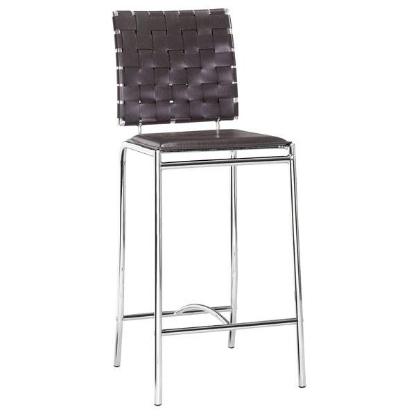 "15"" X 19"" X 39"" 2 Pcs Espresso Leatherette Counter Chair"