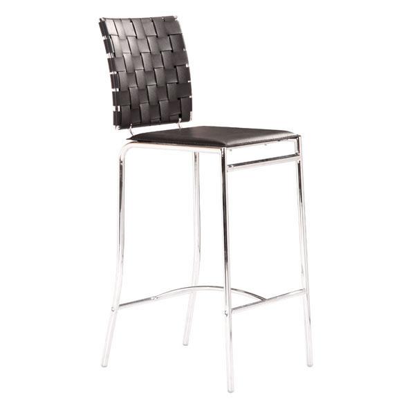 "15"" X 19"" X 39"" 2 Pcs Black Leatherette Counter Chair"