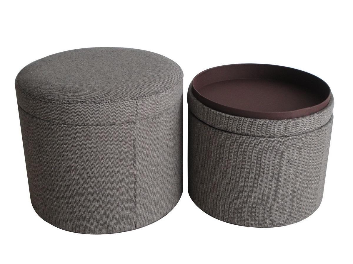 """1"""" x 19"""" x 19"""" Gray Tweed Storage  Ottoman"""