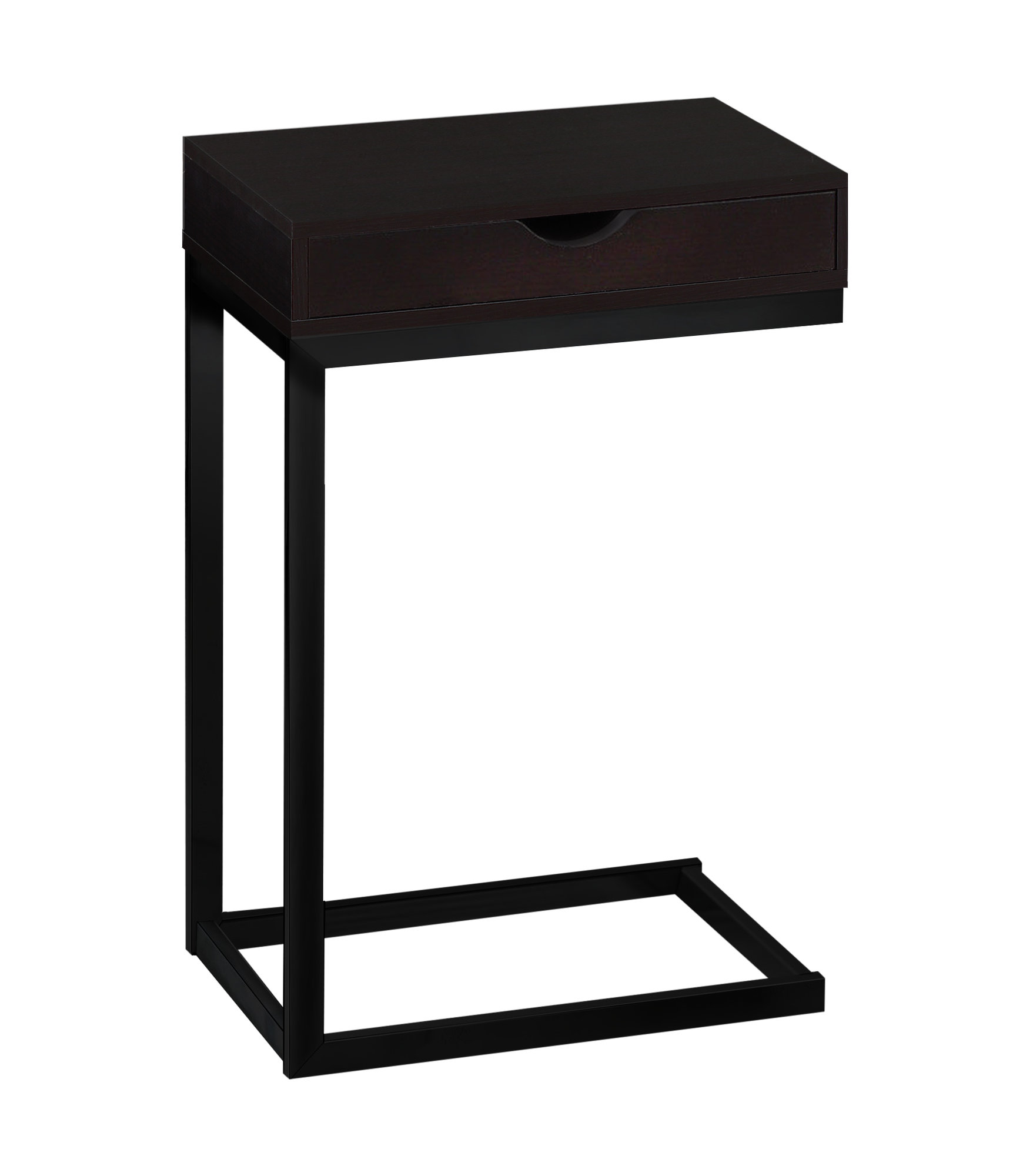 """10.25"""" x 15.75"""" x 24.5"""" Cappuccino Finish and Black Metal Accent Table"""