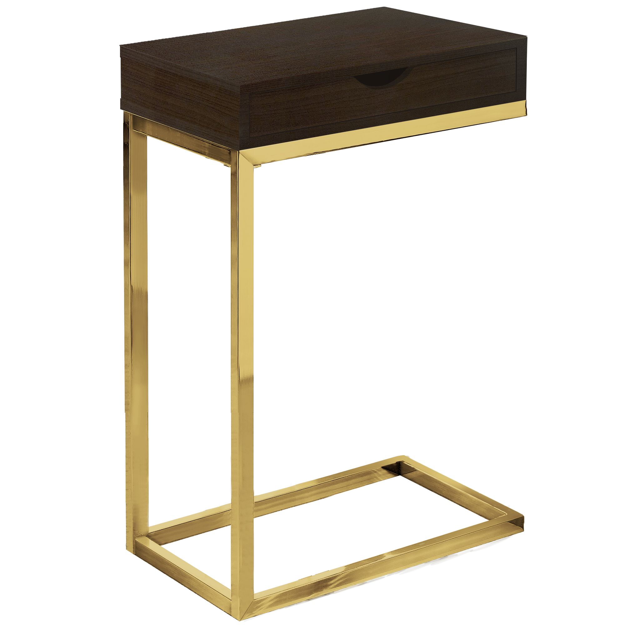 """10.25"""" x 15.75"""" x 24.5"""" Cappuccino Finish and Gold Laminated Drawer Accent Table"""
