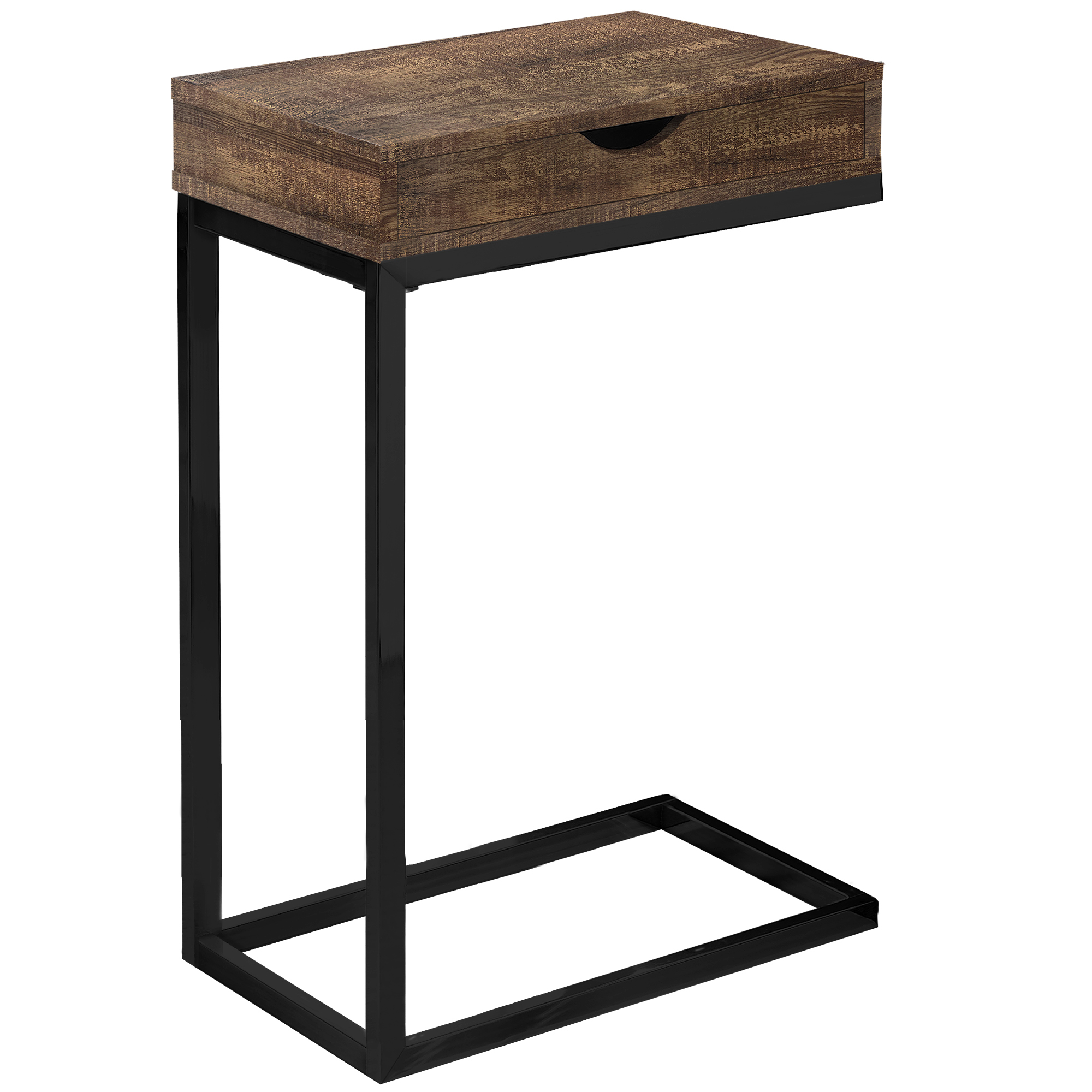 """10.25"""" x 15.75"""" x 24.5"""" Brown Finish Drawer and Black Metal Accent Table"""