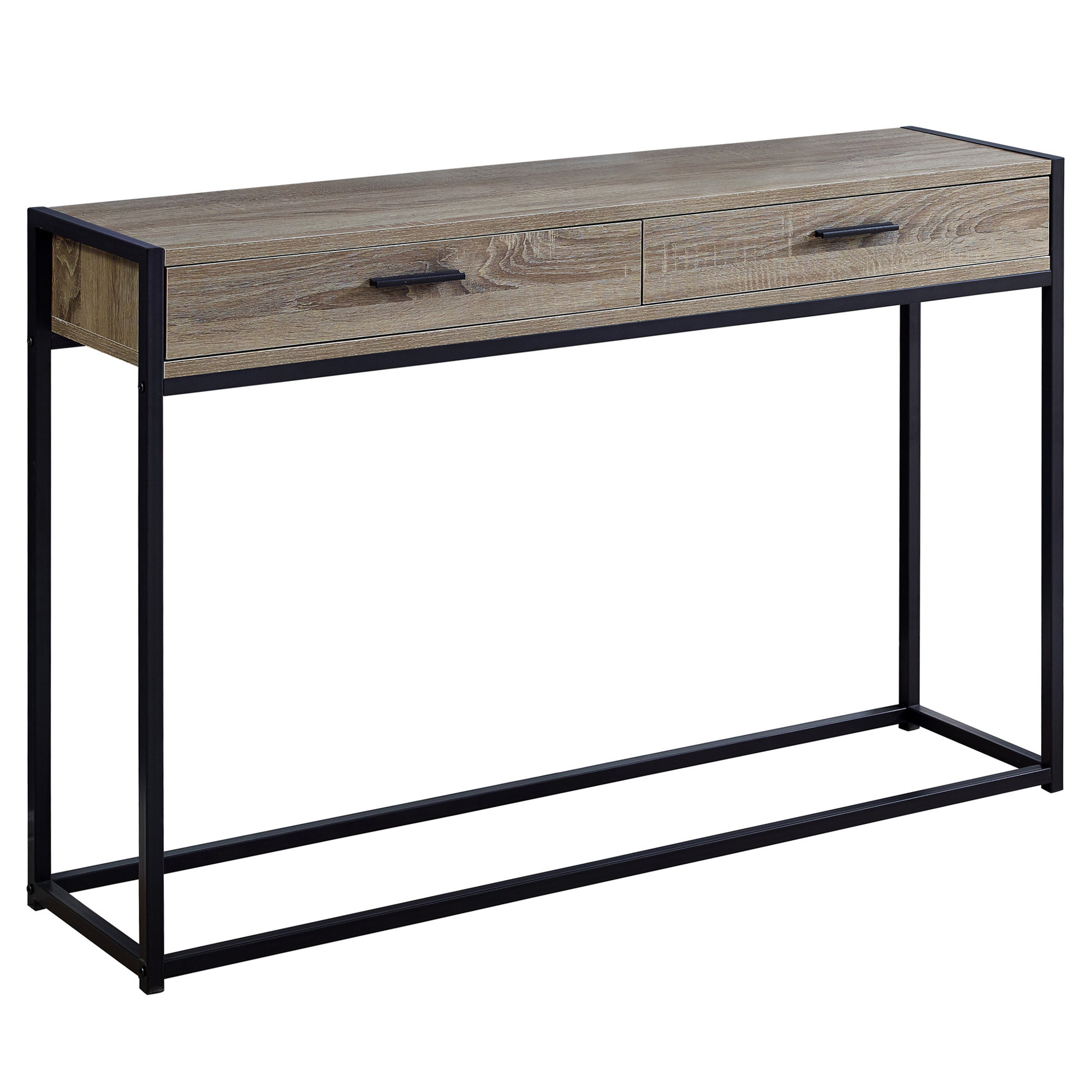 "12"" x 48"" x 32"" Dark Taupe Laminated Finish and Black Metal Accent Table"