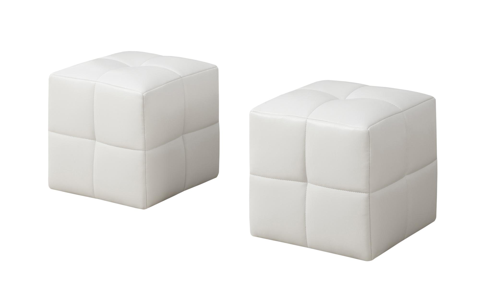"12"" x 12"" x 12"" White  Leather Look  Ottoman 2pcs Set"