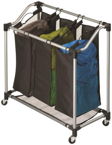 Triple Laundry Sorter Black
