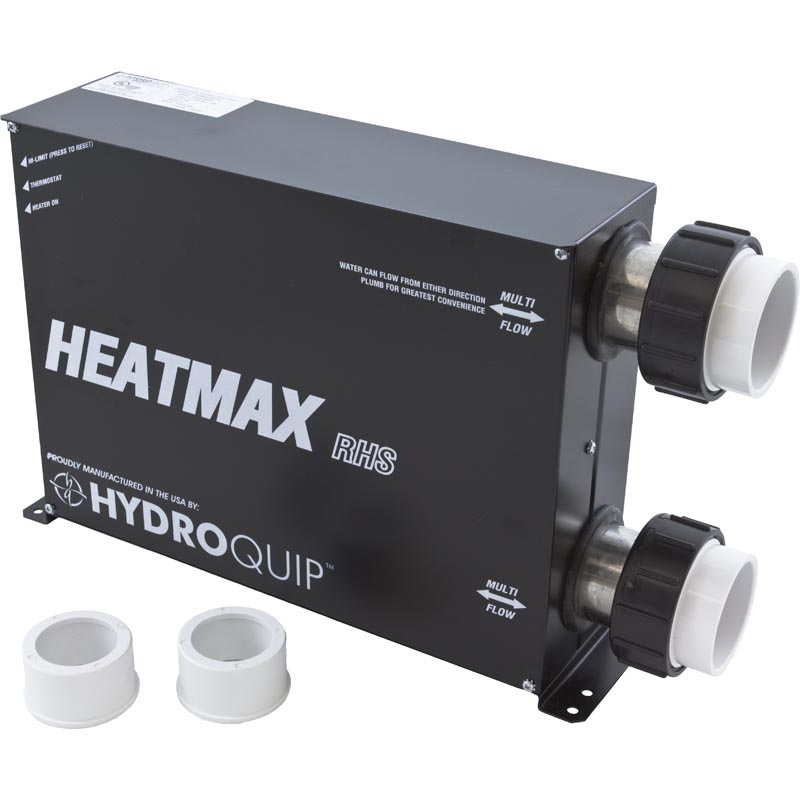Heater Assembly, HydroQuip, Heatmax, Stand Alone, 5.5kW, 230V, w/T-Stat, Hi-Limit & Tailpieces