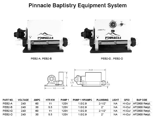 Baptismal System, HydroQuip, Air, 230V, 5.5kW, Pump1= 1/10HP, 115V Autofill Ready Less Time Clock