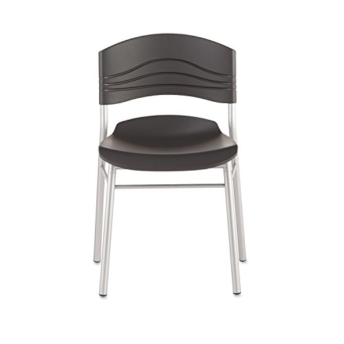 Caf�Works Chair, Blow Molded Polyethylene, Graphite/Silver, 2/Carton