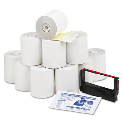 """Impact Printing Carbonless Paper Rolls, 3"""" x 90 ft, White/Canary, 10/Pack"""